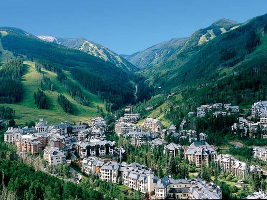 The town of Vail, Colorado surrounded by mountains
