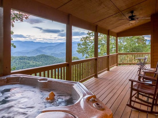 outdoor space with hot tub and gorgeous mountain views in bryson city, nc