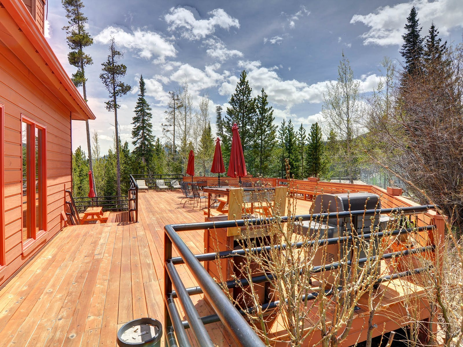 large deck with ample seating of silverthorne, co vacation cabin