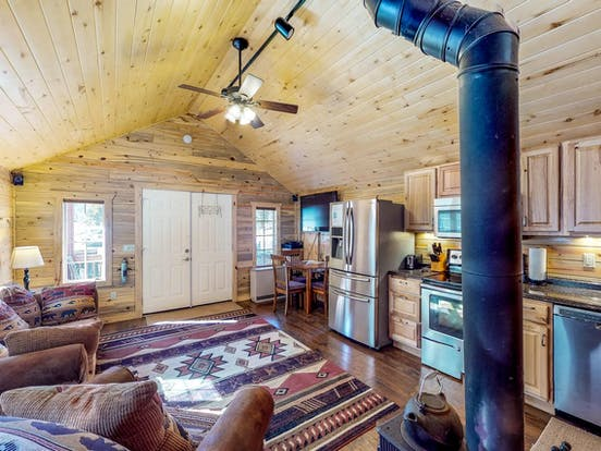 Riverfront cabin living room in Colorado