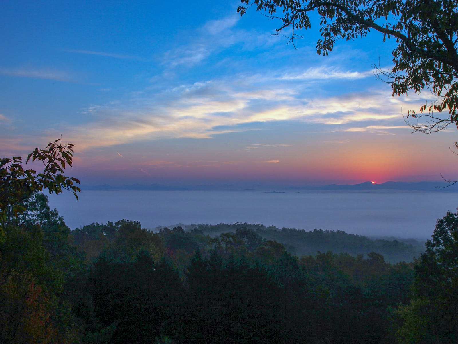 Fading sunset in the blue ridge mountains