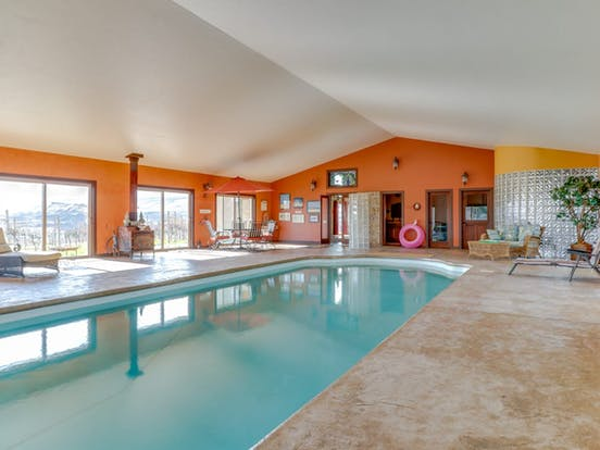 Indoor pool in vacation rental located in the Columbia Gorge