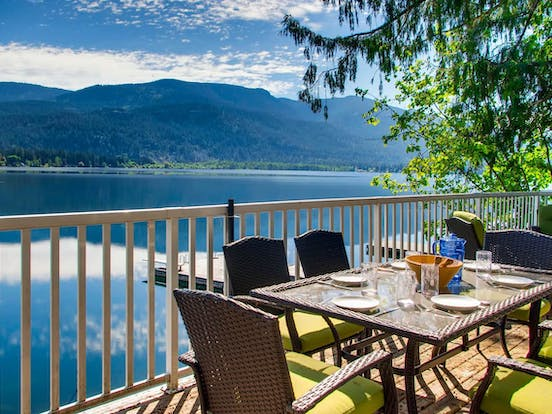 outdoor patio furniture with view of Christina Lake