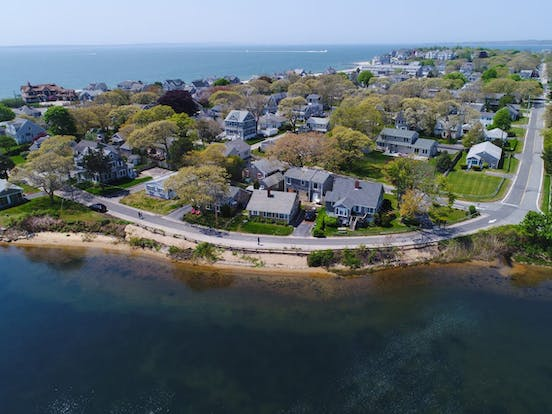 aerial view of water surrounding Falmouth, MA