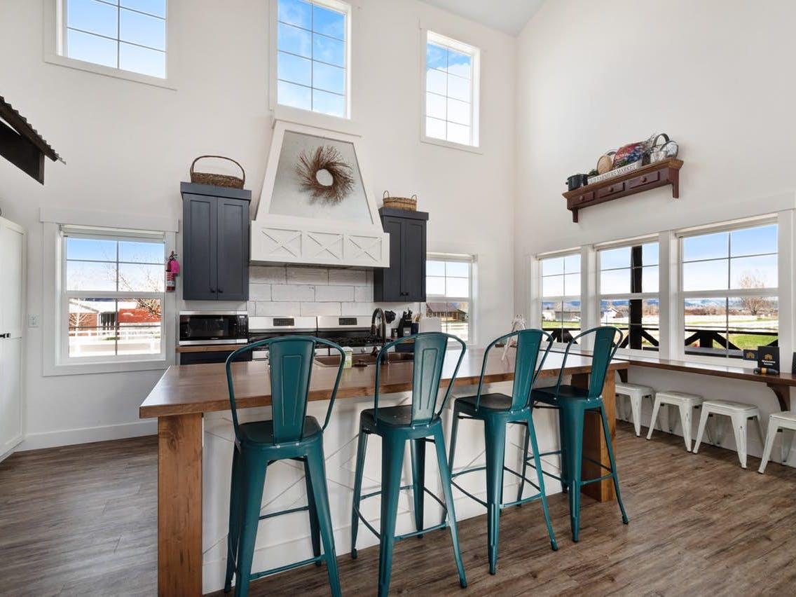 stylish kitchen of vacation rental in Garden City, UT