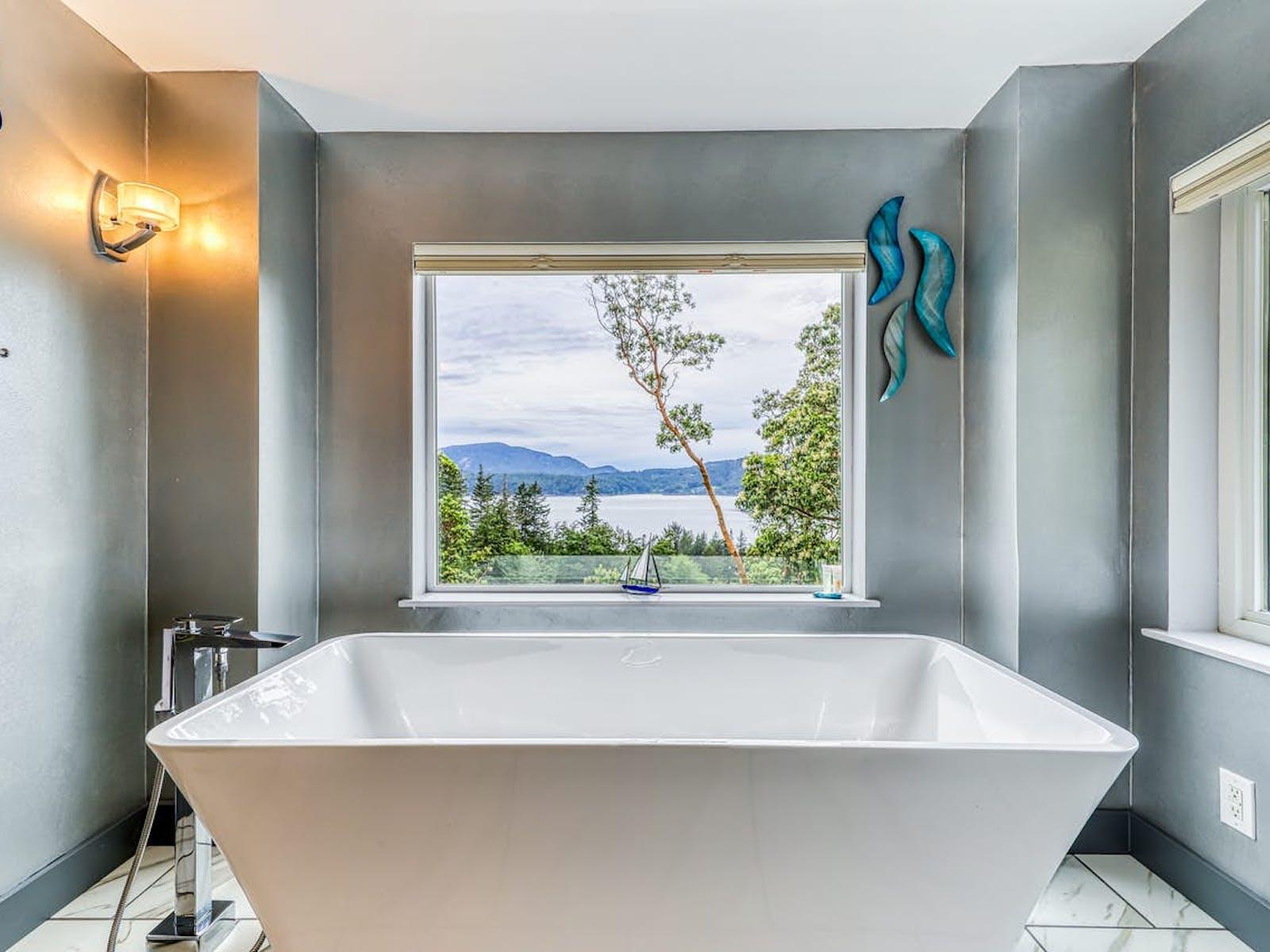 angular bathtub offers stunning views of the Puget Sound