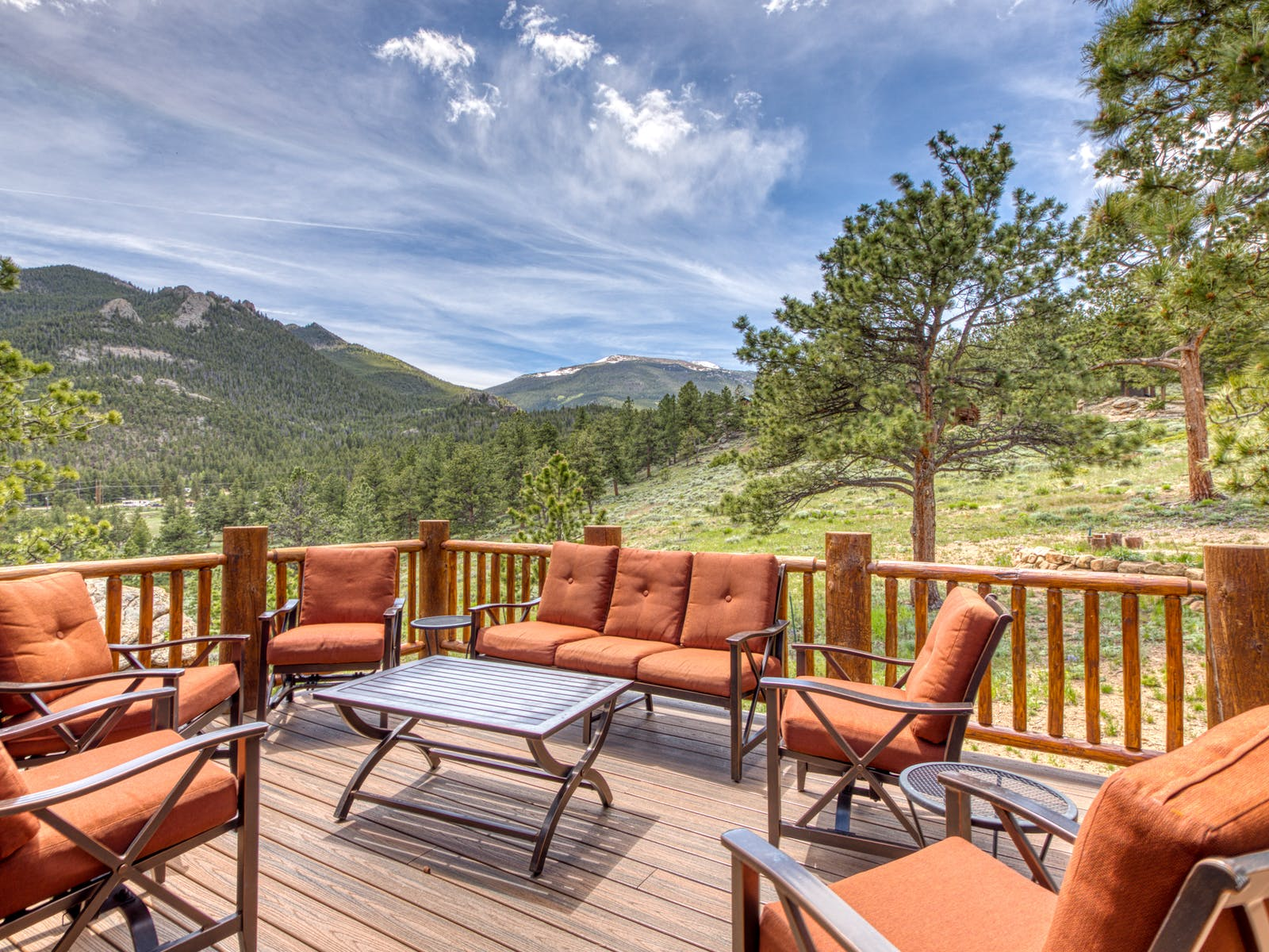 Vacation rental deck in Estes Park, CO with views of the mountains