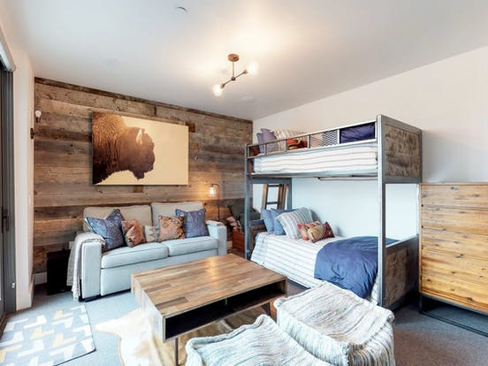 Vacation rental bunkbeds and couch in Yellowstone