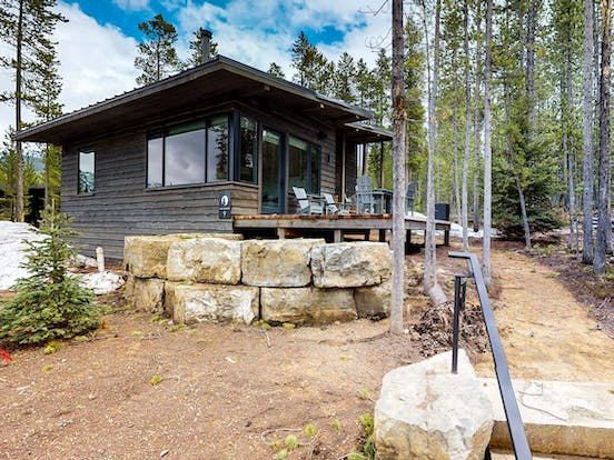 Vacation rental exterior and back porch in Yellowstone
