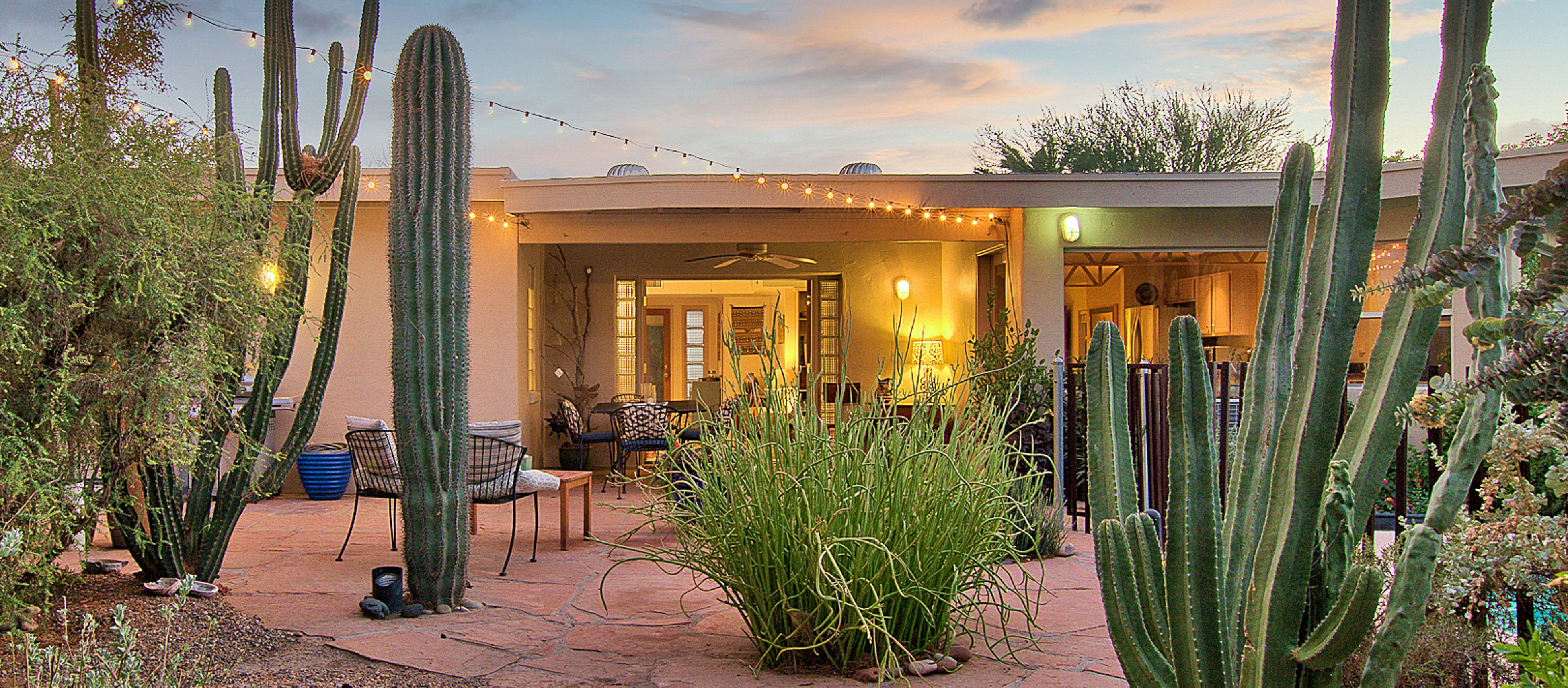 large cacti create a desert oasis at this scottsdale, az vacation home