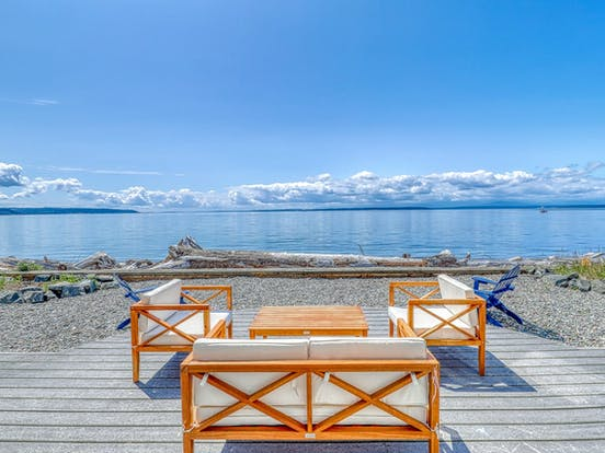 beautiful view from patio of waterfront whidbey island rental