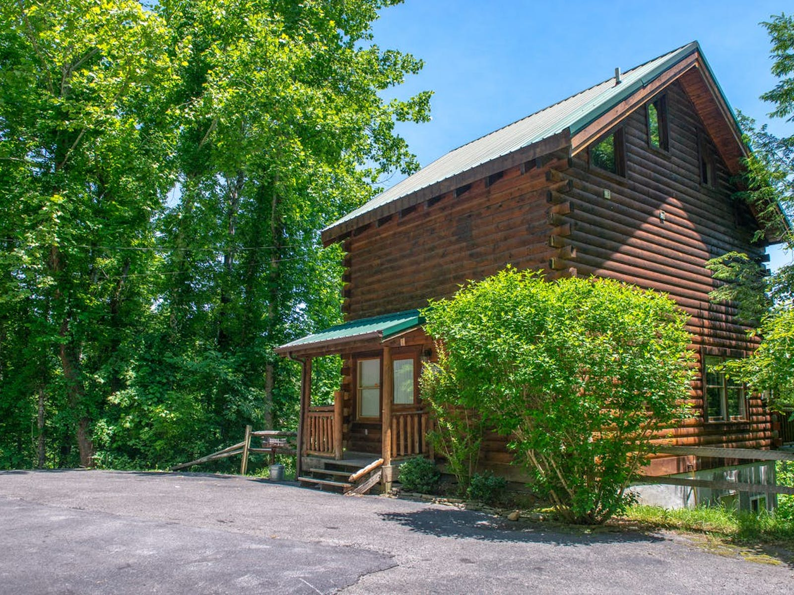 Gatlinburg, TN vacation log cabin rental surrounded by green trees