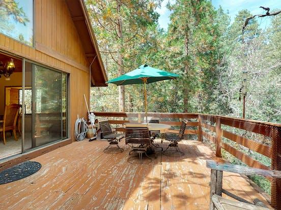 Secluded cabin rental deck in California