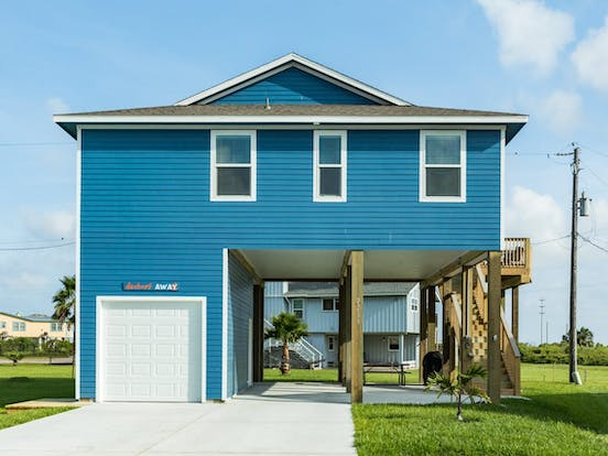 Beautiful blue Galveston beach house