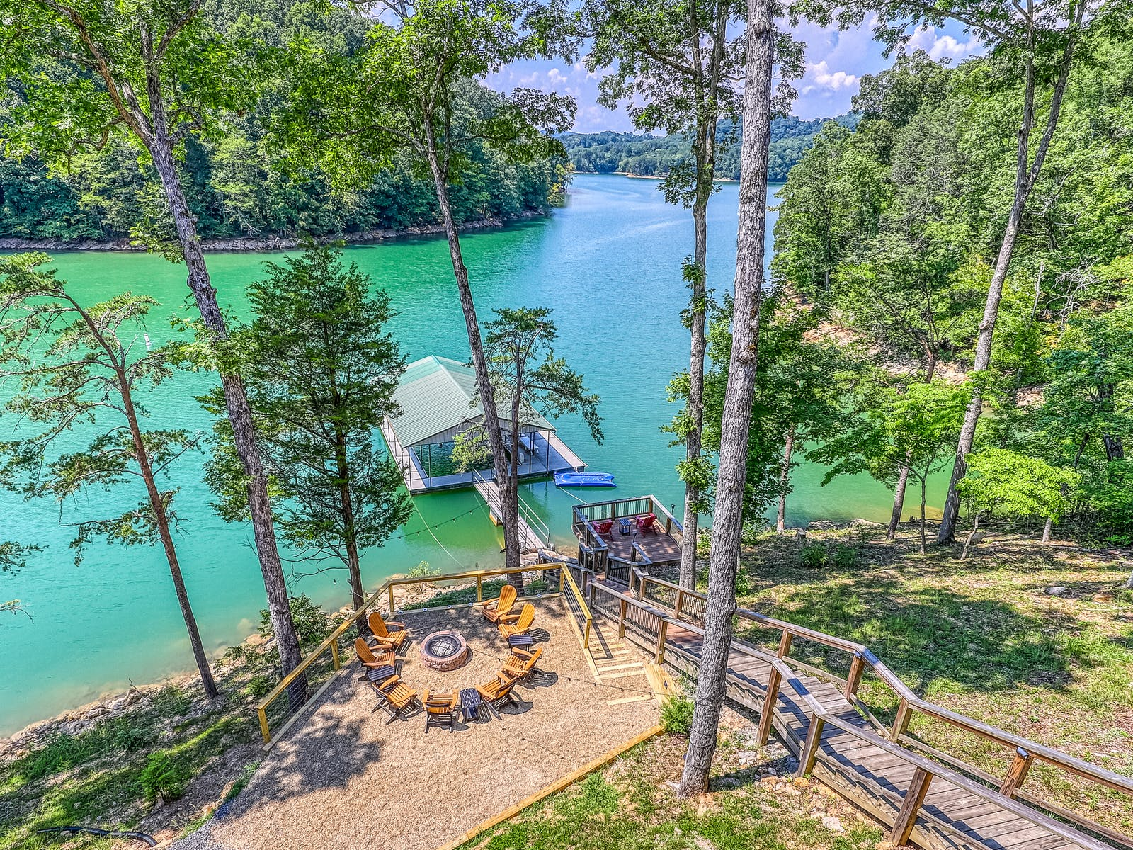 Norris Lake vacation home with firepit and covered dock
