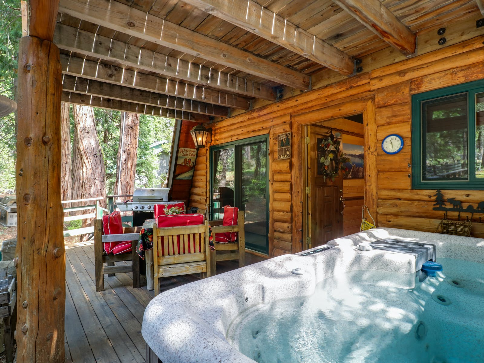 Secluded cabin rental hot tub and porch in California