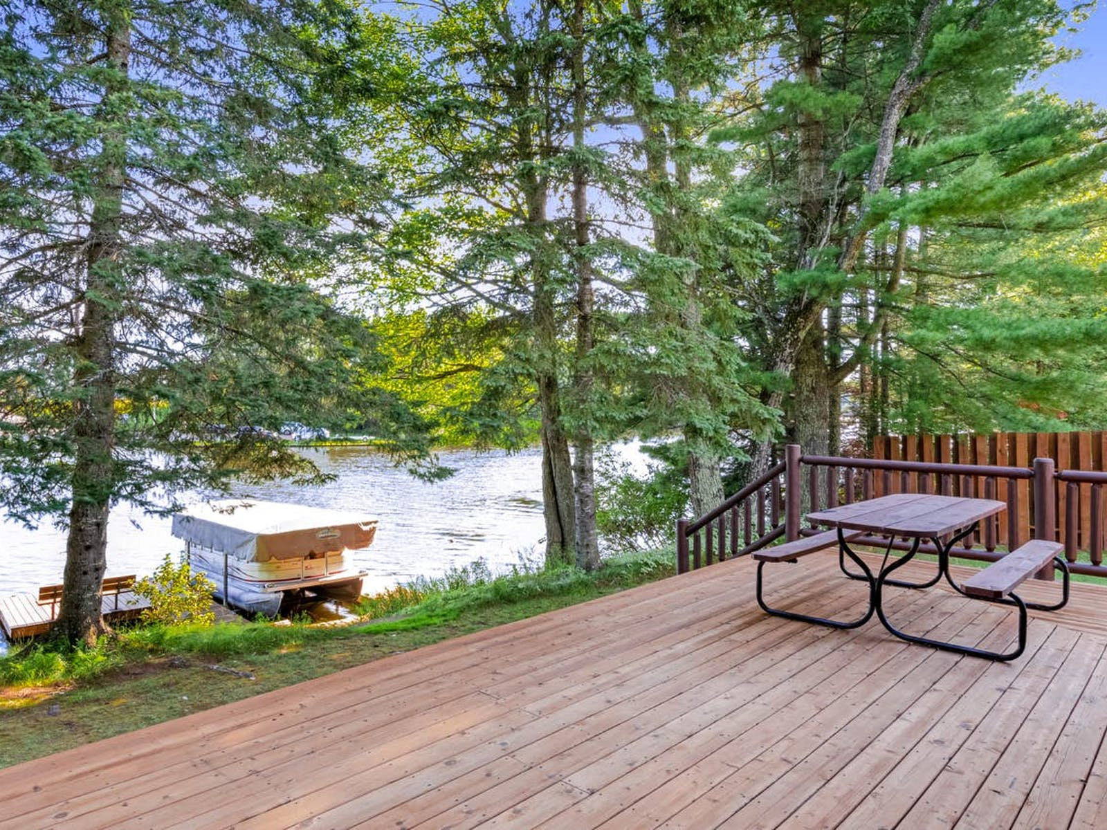 deck and dock of vacation rental in Eagle River, WI