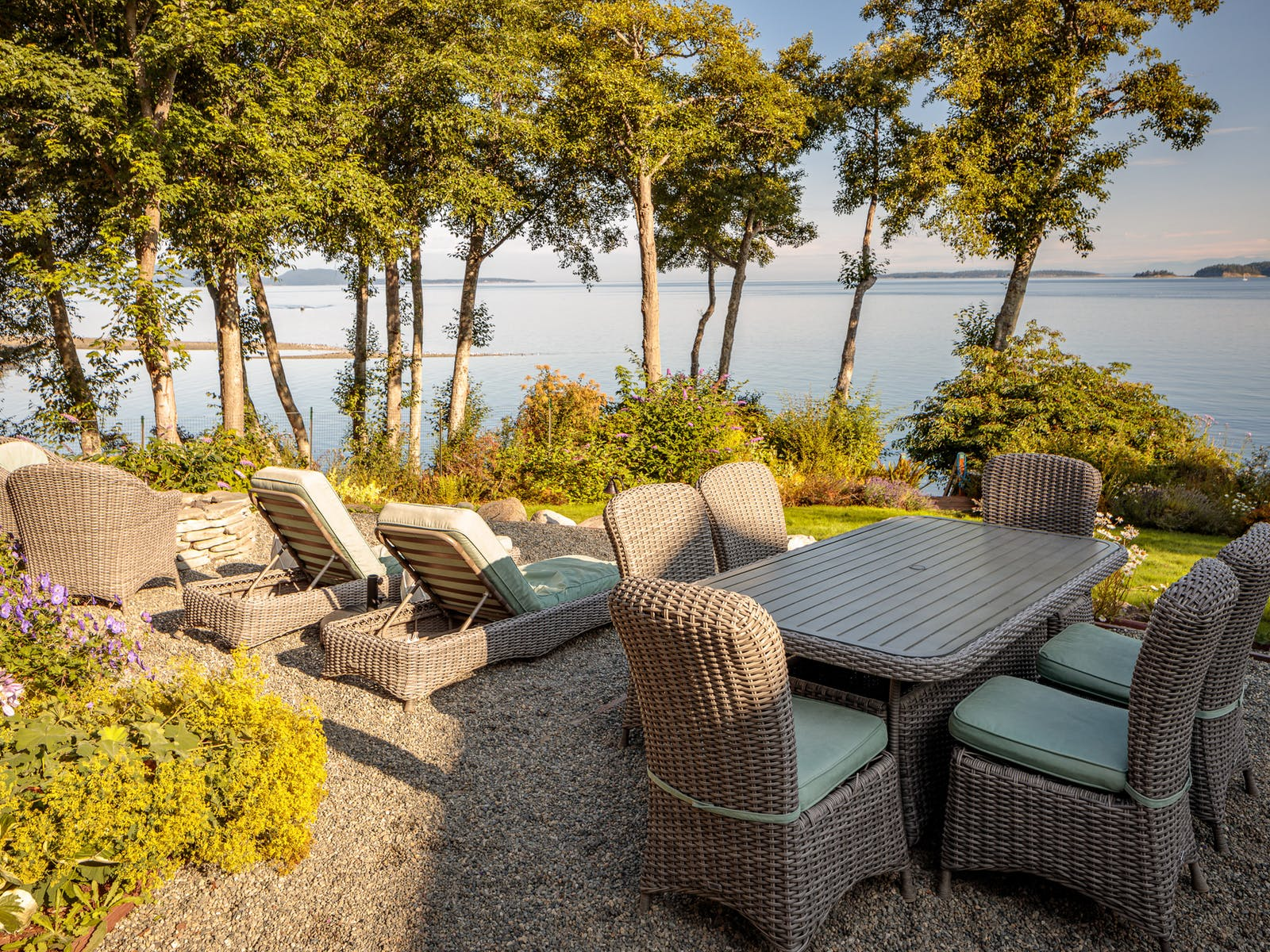 outdoor furniture with views of the Sound in Eastsound, WA