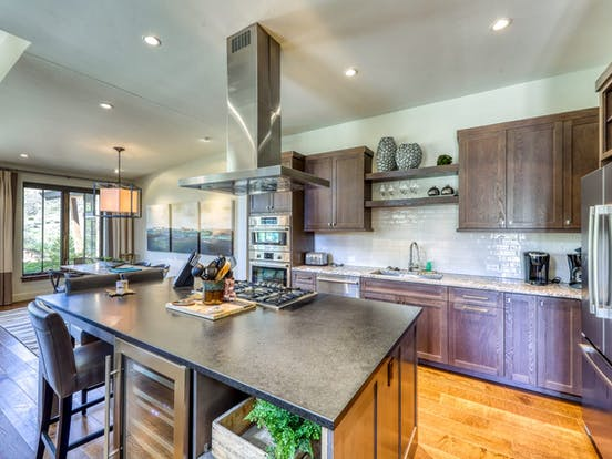 Riverfront cabin kitchen and dining area in Colorado