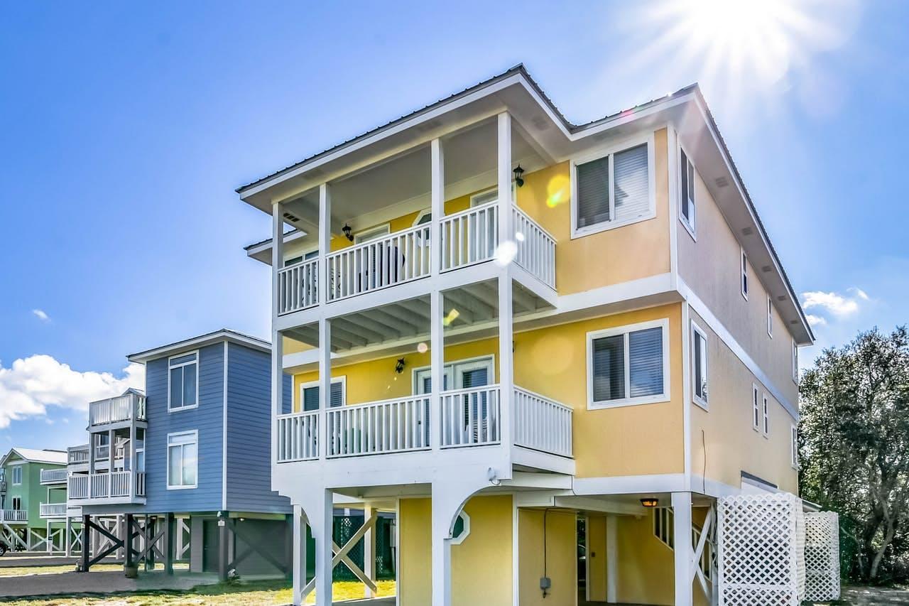 yellow beach house located in Gulf Shores, AL