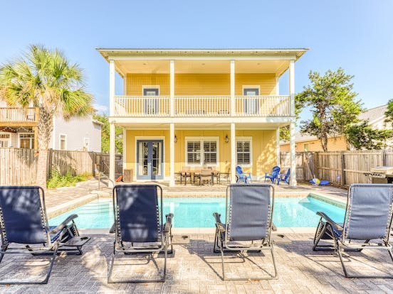 yellow beach house with private pool in destin, fl