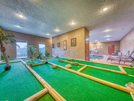 Sevierville, TN cabin rental with a private indoor pool and mini-golf course