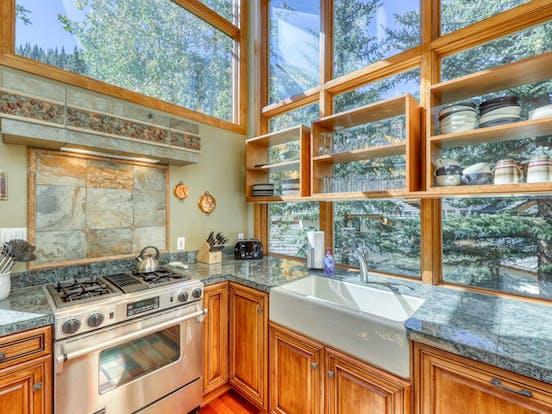 Riverfront cabin kitchen in Colorado