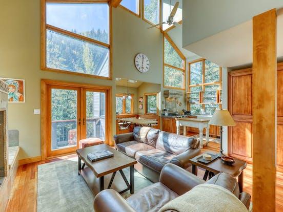 Riverfront cabin living area in Colorado