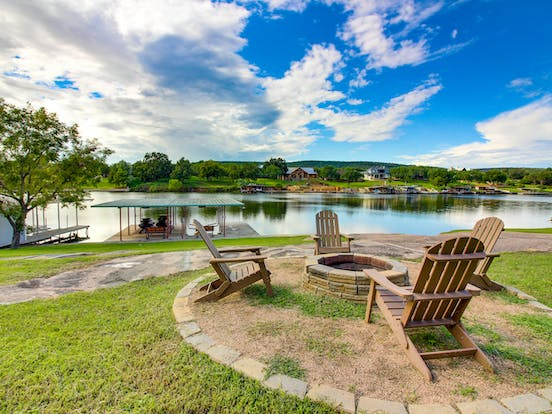 covered dock and firepit of texas vacation rental