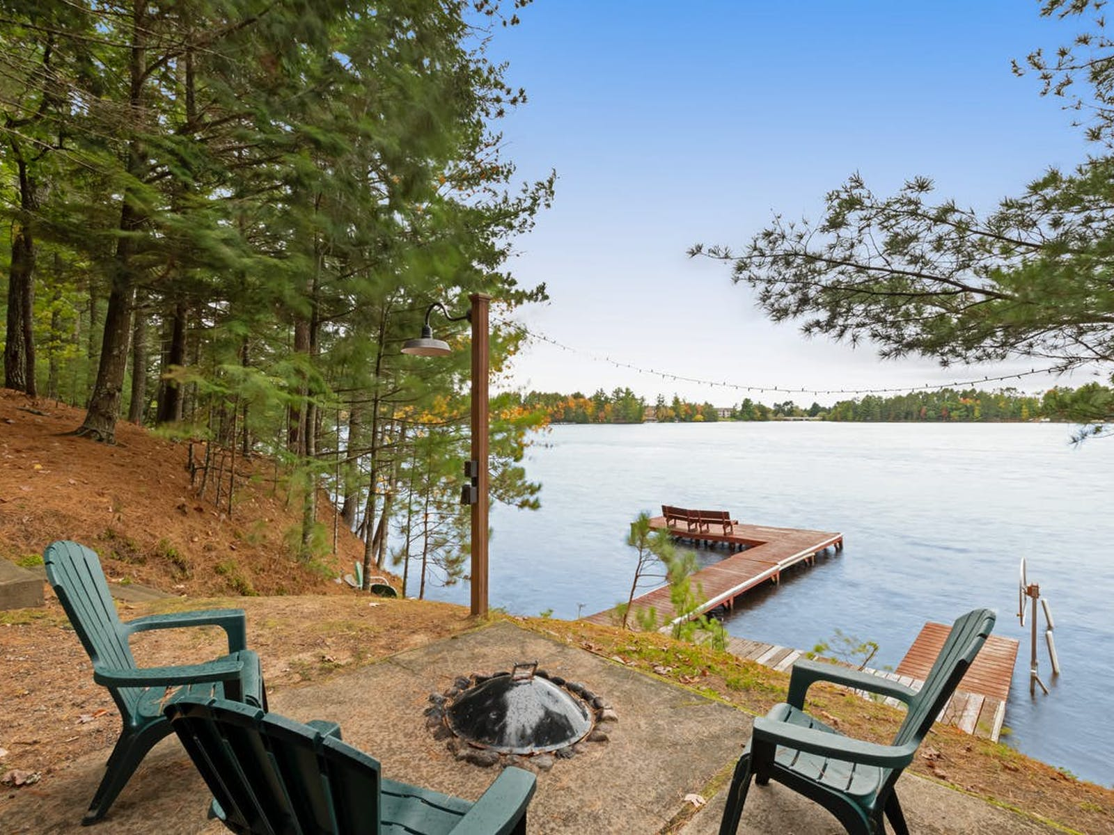 fire pit near lake in Three Lakes, WI