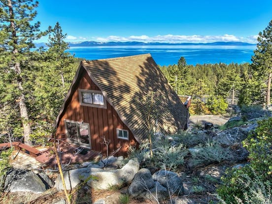 A-frame cabin overlooking Lake Tahoe