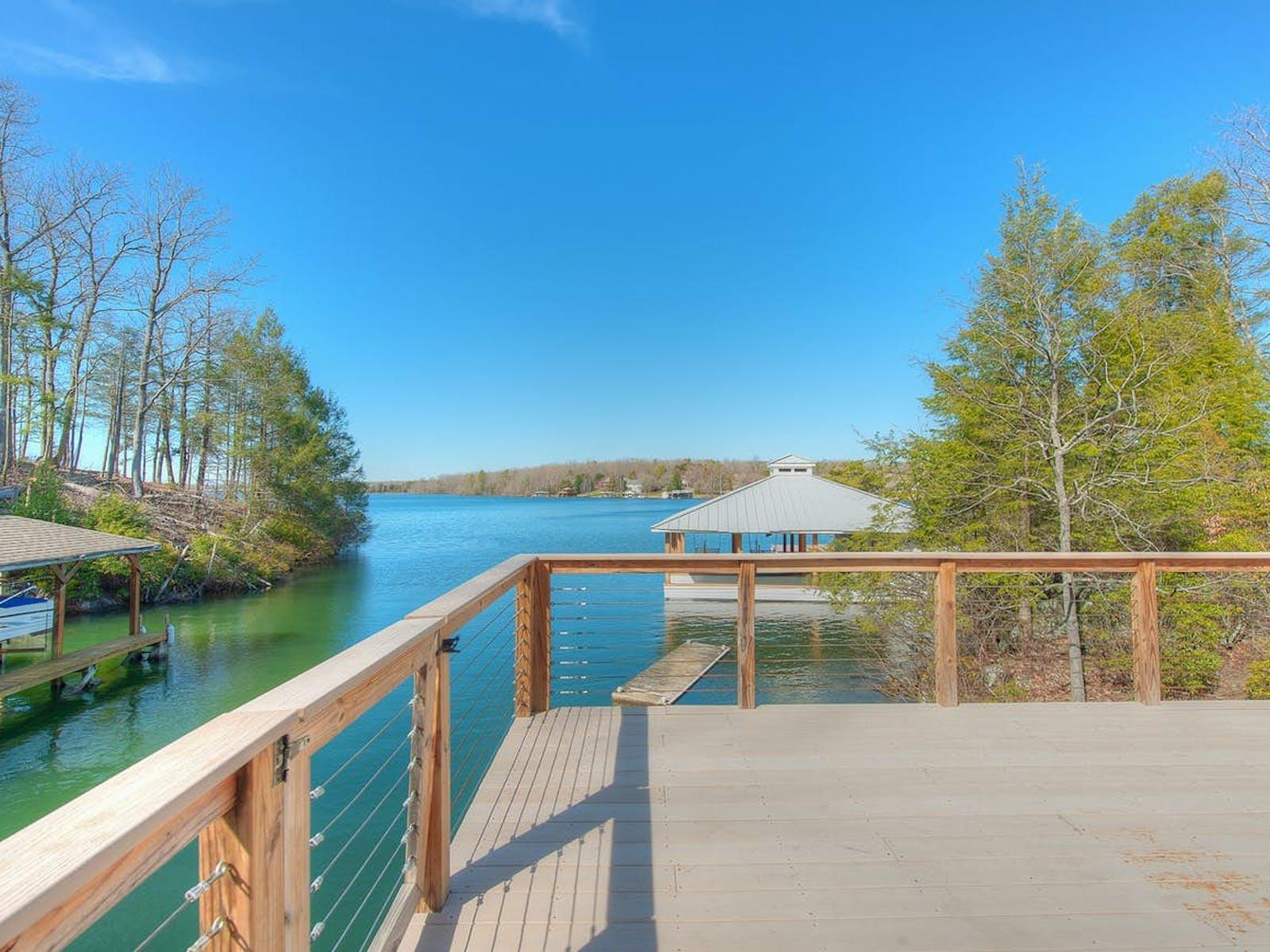 Upper deck of vacation rental overlooking water in Mineral, VA