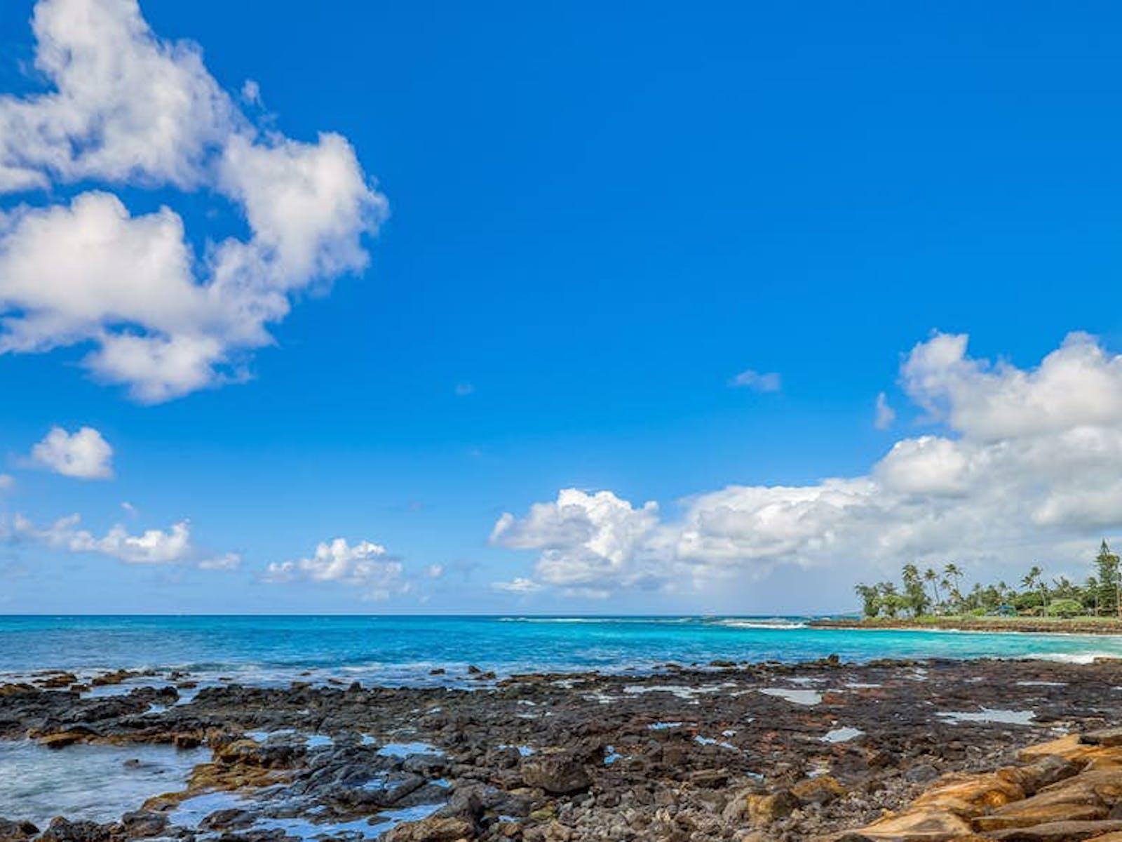 Poipu Bay shoreline in Poipu, HI