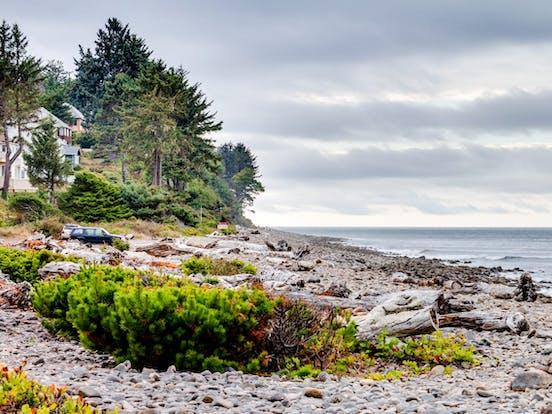 rocky shoreline of Seaside, OR