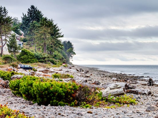 rocky shoreline of Seaside, OR