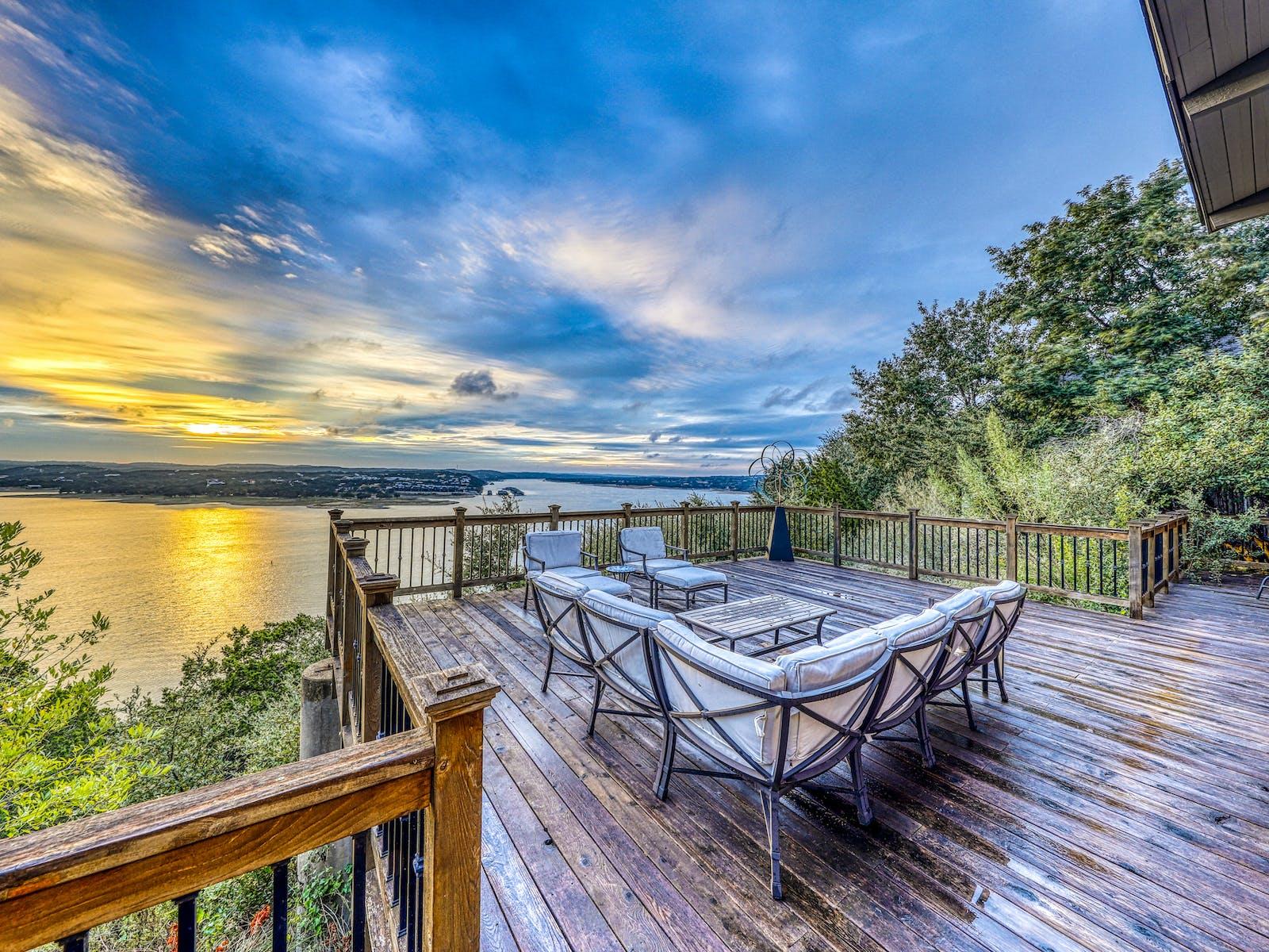deck of vacation rental overlooking lake in lago vista, tx
