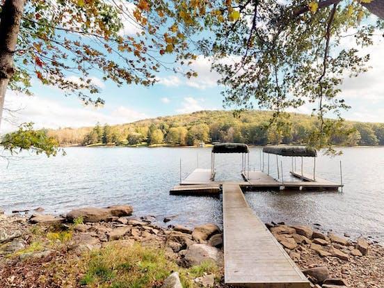 Long boat dock extending over Deep Creek Lake