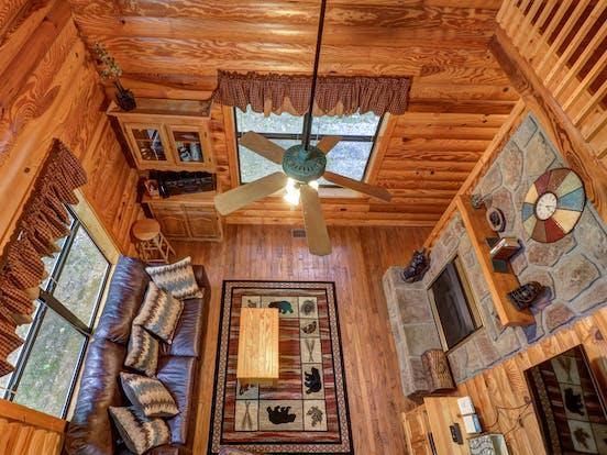 Pet-friendly cabin living area in Gatlinburg, TN