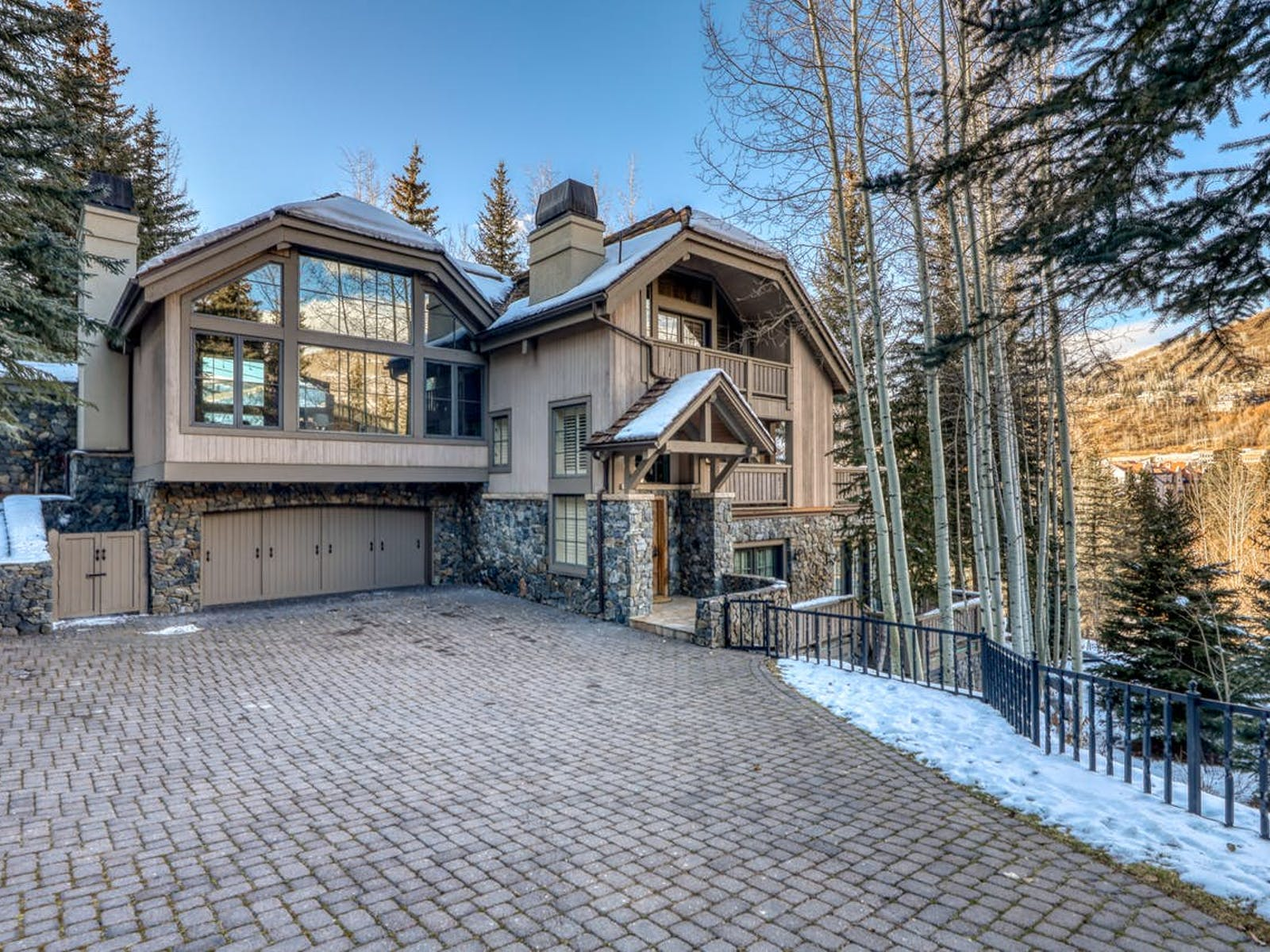 Large Vail, CO vacation home with brick driveway