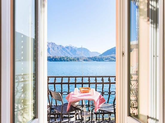 balcony of vacation rental overlooking Lake Como