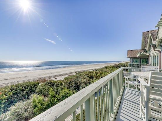 view of beach from Folly Beach, SC pet friendly rental
