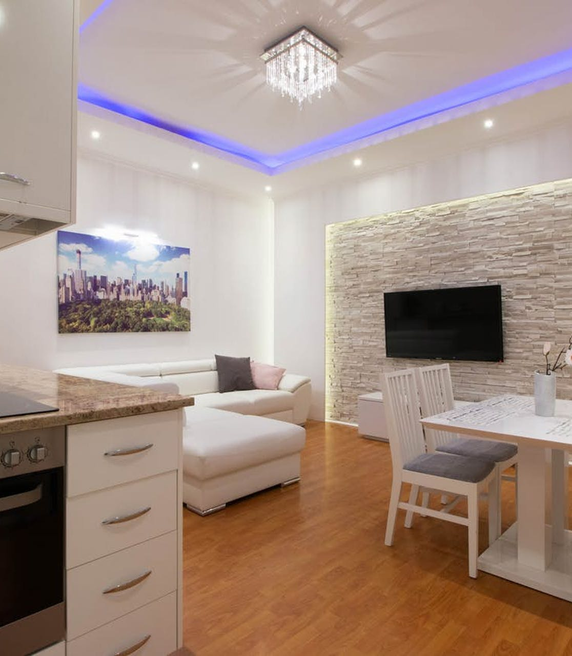 kitchen and living area of vacation rental in Budapest, Central Hungary