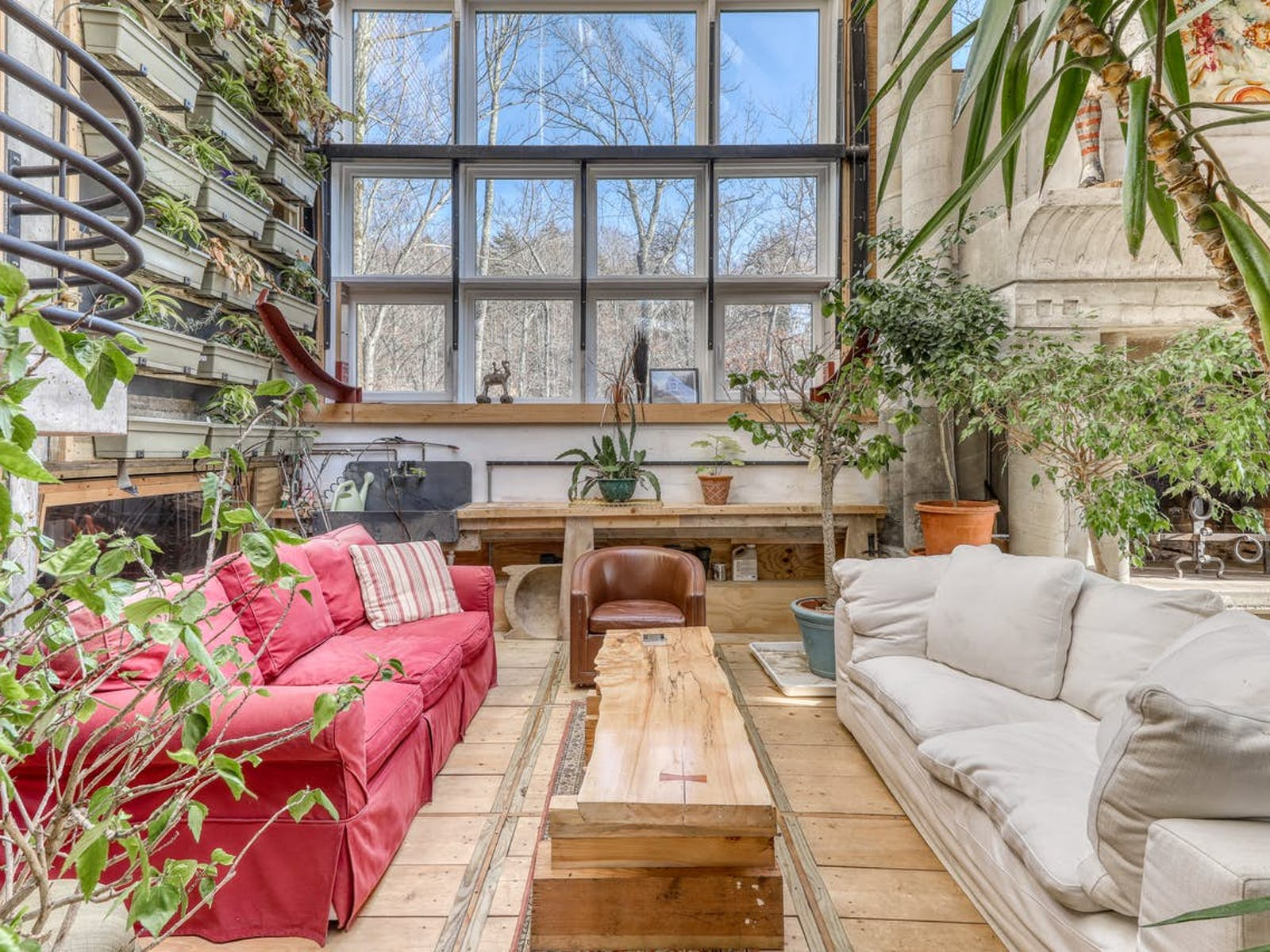 living room filled with live plants and comfy couches in Warren, VT vacation home