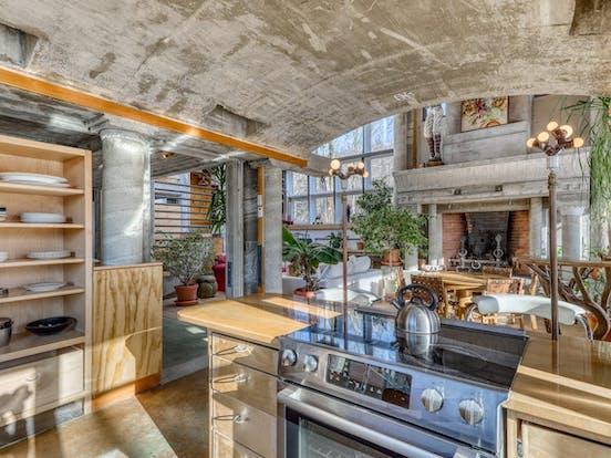 concrete kitchen of unique Warren, VT vacation home