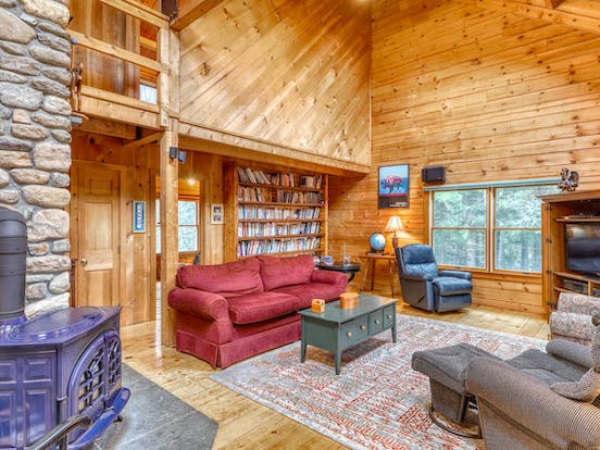 living room of Stowe, VT vacation cabin