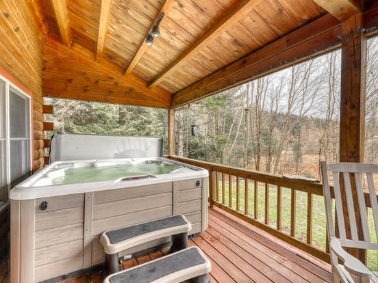 private hot tub on deck of Stowe, VT vacation home