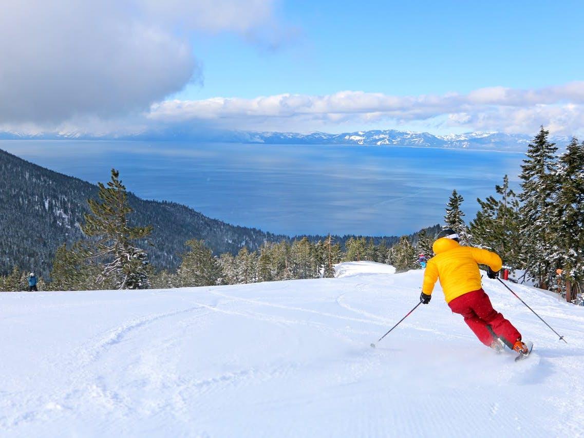 man skiing in lake tahoe