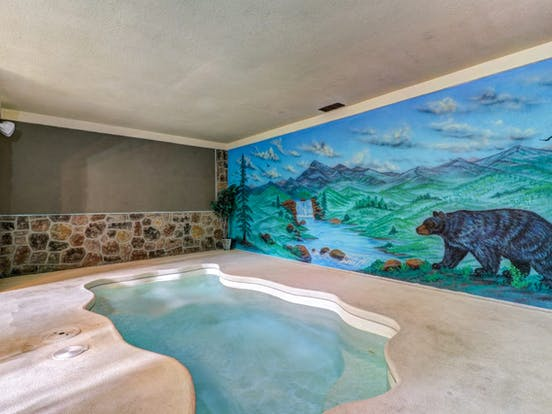 Indoor pool in Smoky Mountains vacation rental