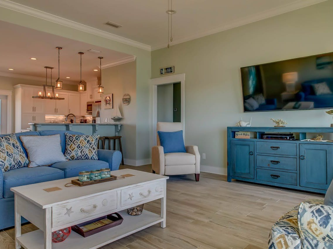 dauphin island vacation rental with blue tones