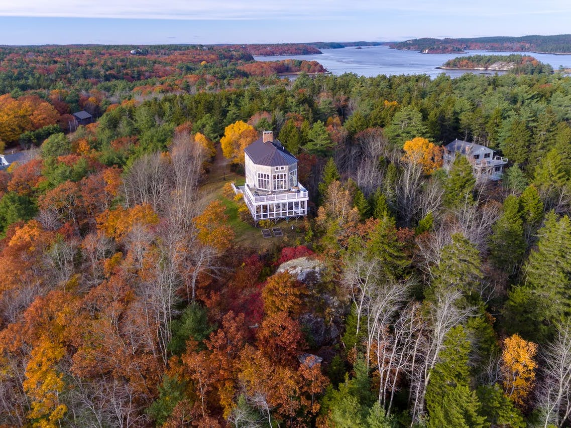 Phippsburg, ME vacation rental surrounded by fall foliage